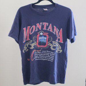 Vintage Fruit Of The Loom Montana Navy Blue Shirt